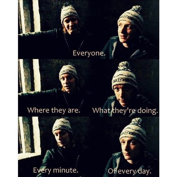 Fred and George Weasley talking about Marauders map ❤ liked on Polyvore