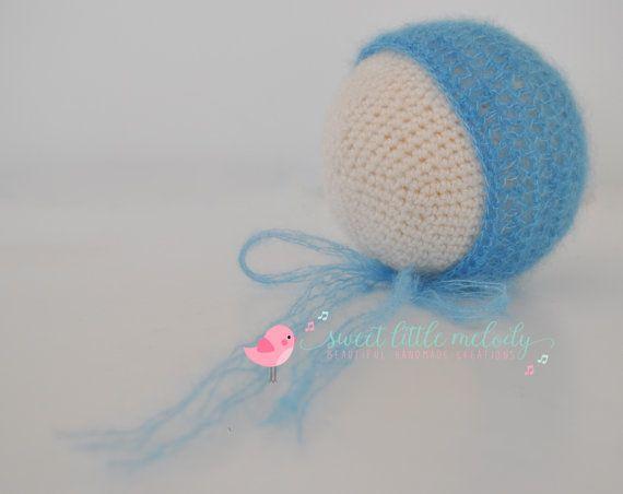 Baby Hat Bonnet Crochet Newborn Bonnet Mohair by SweetLittleMelody