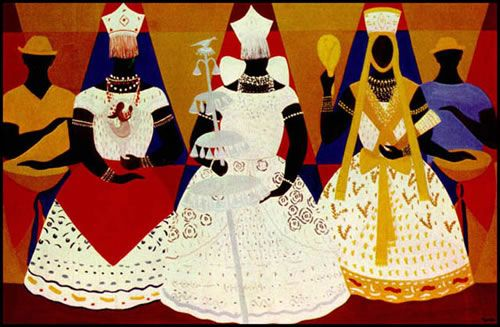 Djanira da Mota e Silva, Três Orixás, tela, 1966, Pinacoteca de SP