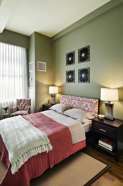 relaxing  tranquil bedroom home sage green walls