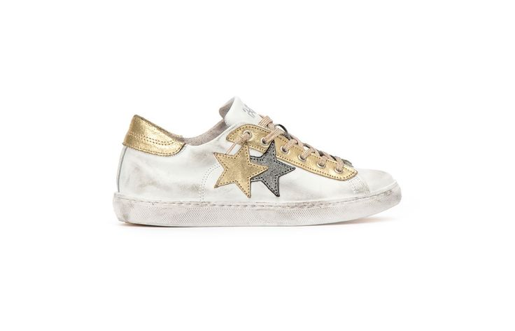 Sneaker 2 Two Star Donna 2sd1408 low bianco gold spring summer 2017