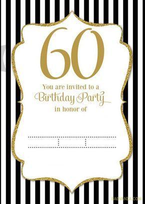 Download Now FREE Printable 60th Birthday Invitation Templates
