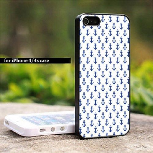 White Anchor Pattern 1 Art Print For iPhone 4/4S Case | HERLIANCASE - Accessories on ArtFire