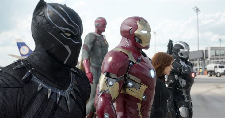 Captain America: Civil War : Photo Chadwick Boseman, Paul Bettany, Robert Downey Jr., Scarlett Johansson