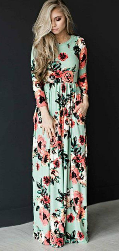 9b1d74c269f1 Mint Floral Long Sleeve Maxi Dress Mommy and Me Dresses Womens Online  Boutique