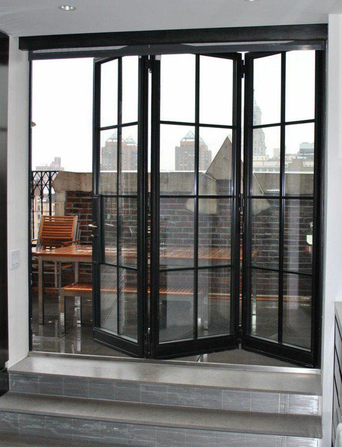 porte accordeon interieur en verre et fer noir Plus
