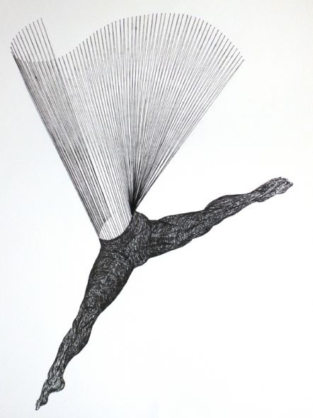 Maurizio Anzeri, Enduring Seconds  Thread and ink on paper  25x30 cm  2007