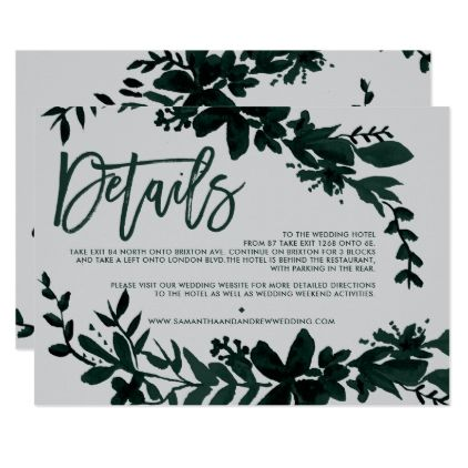 Green foliage script Floral grey wedding direction Card - rose style gifts diy customize special roses flowers