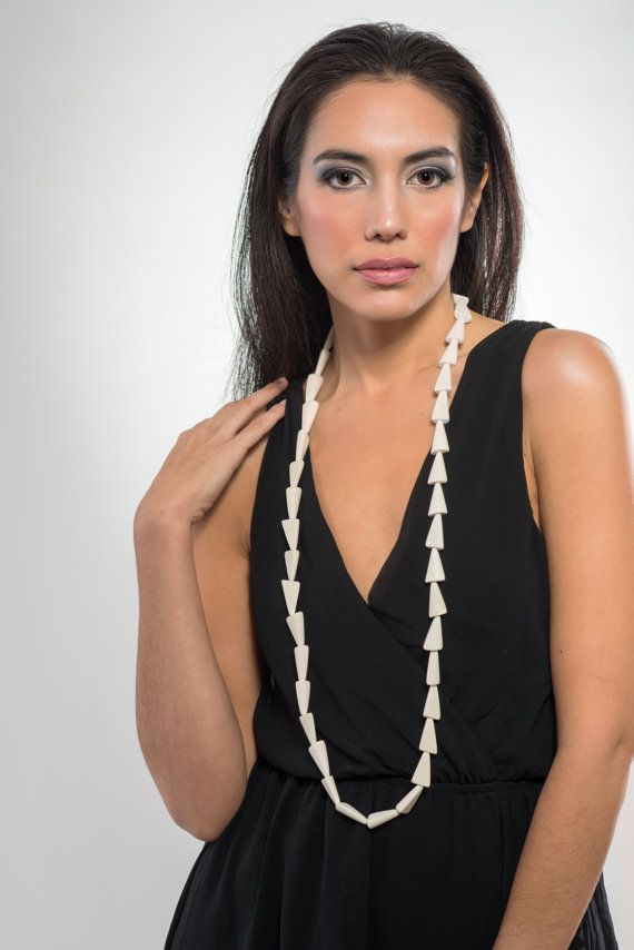 Long pyramids wooden necklace white light and modern by LauraRosa