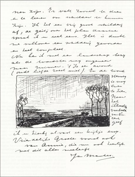 Sample letter with a sketch by Jan Mankes
