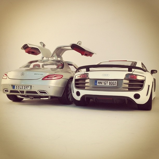 New couple! Audi R8 and the Mercedes SLS! that Audi R8 all the way!