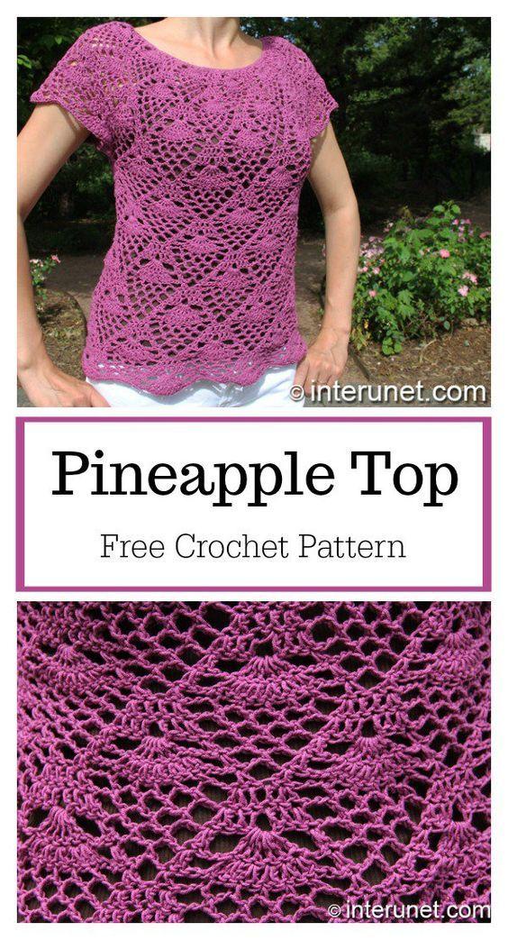 Pineapple Stitch Top Free Crochet Pattern Craft Wear Pinterest