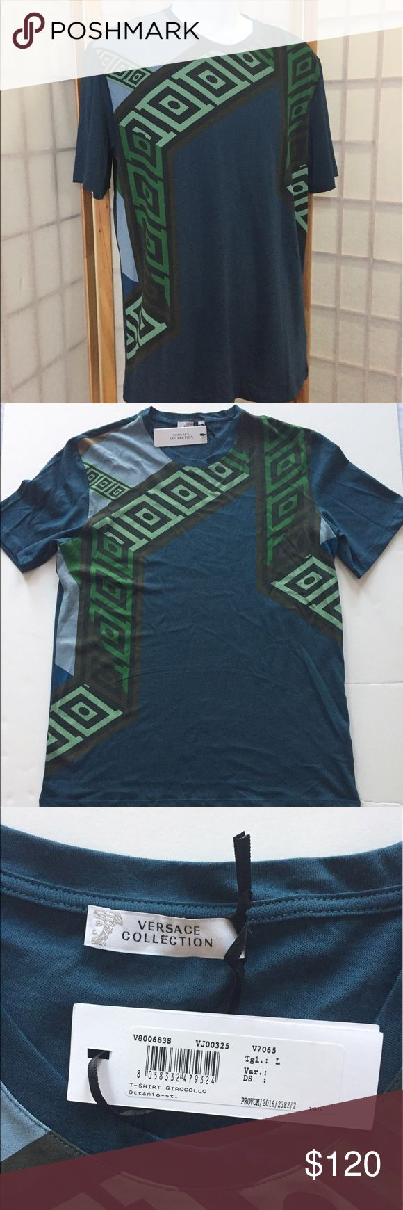 "Versace Men Graphic Tee Sz L, Navy/Green NWT New with tags Versace Men t Shirt , Sz L. True to size. Navy color with green and black geometric pattern. 100% cotton. Length 28"". Versace Shirts Tees - Short Sleeve"