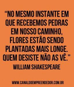 """""""No mesmo instante em que recebemos pedras em nosso caminho, flores estão sendo plantadas mais longe. Quem desiste não as vê."""" - William Shakespeare"""