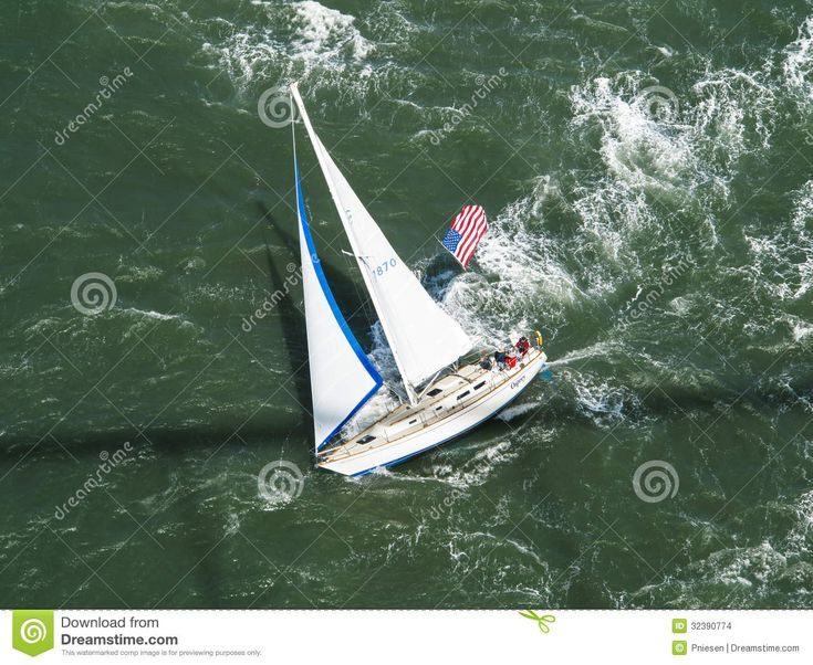 Aerial View Of Sailboat Racing Along Editorial Stock Image - Image ...