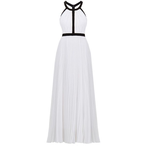 Nicole Miller Gladiator White Halter Gown (725 BRL) ❤ liked on Polyvore featuring dresses, gowns, white, long evening dresses, white maxi dress, white gown, long white dress and white halter dress