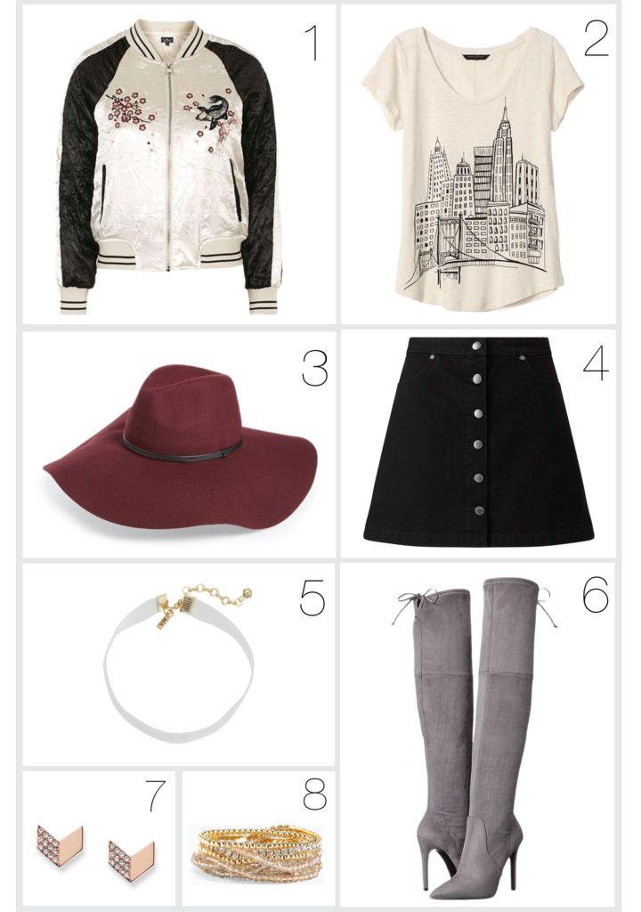 blogger-link-ups, fashion-blog-link-up, Friday Favorites, friday-blog-link-ups, friday-favorites-link-up, friday-favorites-the-closet-by-christie, popular-fashion-blogs, topshop-contrast-embroidered-bomber-jacket, banana-republic-factory-graphic-tee, haolgen-floppy-hat, miss-selfridge-a-line-mini-skirt, vanessa-mooney-velvet-choker-necklace, guess-akera-over-the-knee-boots, fossil-vintage-glitz-chevron-earrings, torrid-rhinestone-beaded-bracelet-set