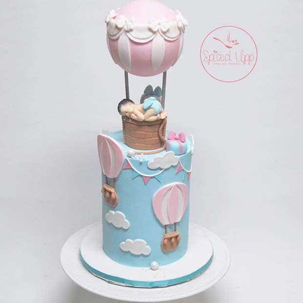 41 Cute And Fun Gender Reveal Cake Ideas Hot Air Balloon Cake