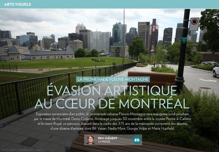 Exposition temporaire d'art public, la promenade urbaine Fleuve-Montagne sera inaugurée lundi prochain par le maire de Montréal, Denis Coderre. Aménagé jusqu'au 30novembre entre le musée Pointe-à-Callière et le mont Royal, ce par