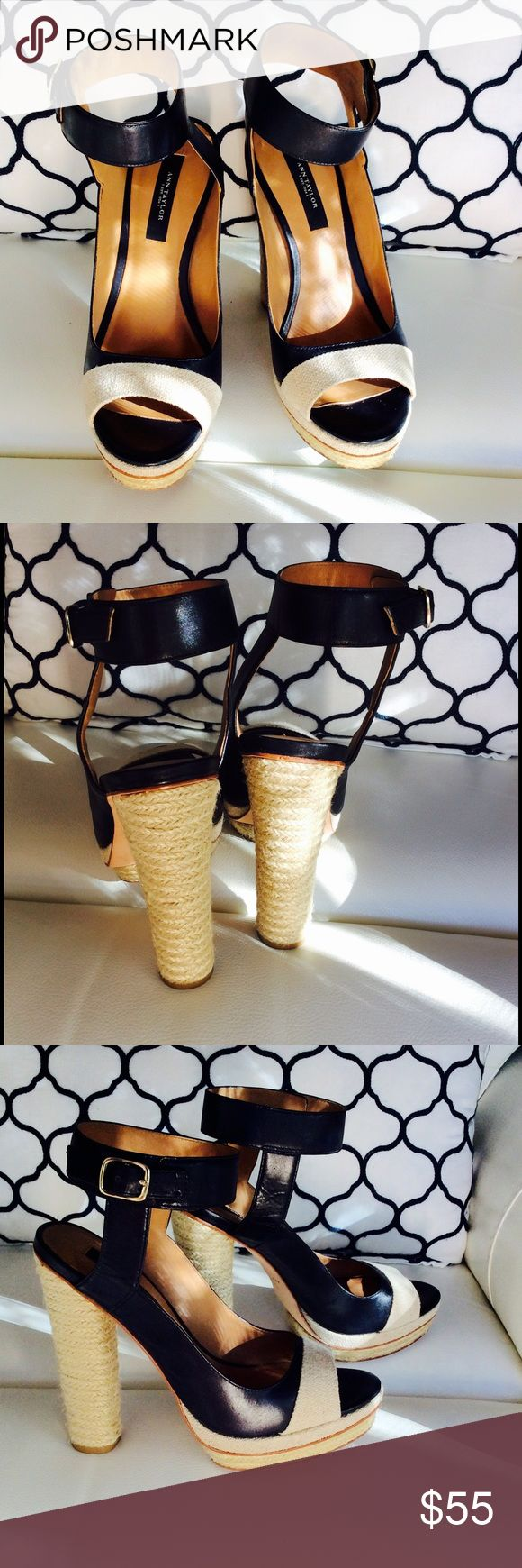 🎁Ann Taylor espadrilles heels Black and Beige 🎁 Ann Taylor espadrilles heels Black & beige espadrilles heels. 3 1/2 heel. Slight platform in front makes them comfortable Ann Taylor Shoes Heels in perfect condition check pics 0134210567 Ann Taylor Shoes Platforms