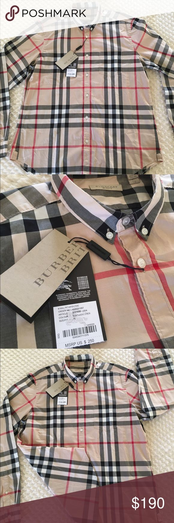 New authentic burberry shirt for men xl New with tags authentic burberry shirt for men size xl 100% cotton long sleeves beige color original price is 250$ Burberry Shirts Casual Button Down Shirts