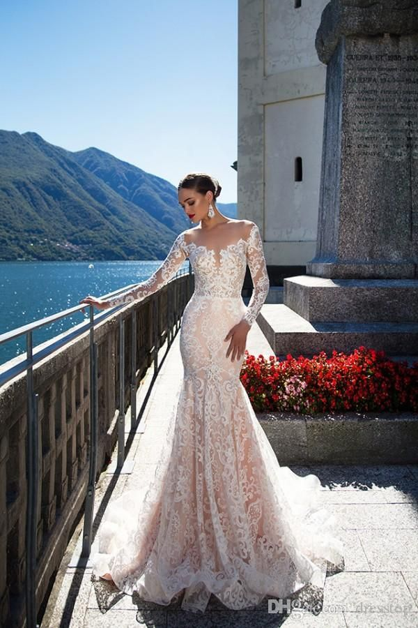 Milla Nova Backless Wedding Dresses With Long Sleeves Mermaid Sheer Plunging Neck Trumpet Bridal Gowns Sweep Train Tulle Lace Wedding Dress