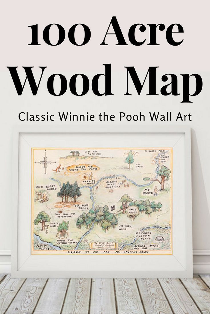 100 Acre Wood Map Sign Classic Winnie The Pooh Nursery Winnie The