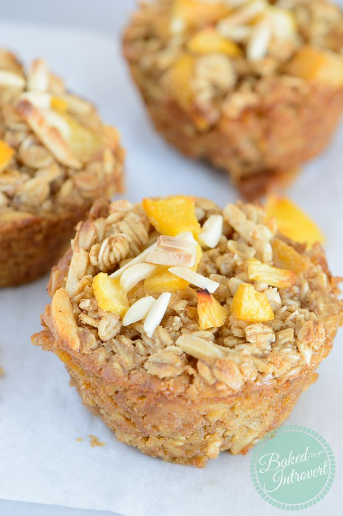 Single serve, baked oatmeal flavored with diced peaches and almond butter. So easy and super healthy!