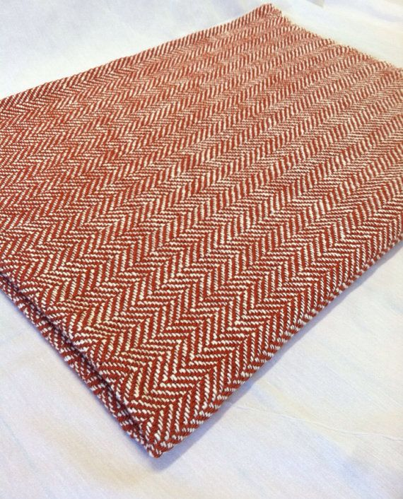 Herringbone Woven Blanket Orange and White in Cotton by BristolLoomsRI