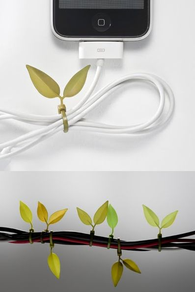 leaves for entwining wires. Such a cute idea.