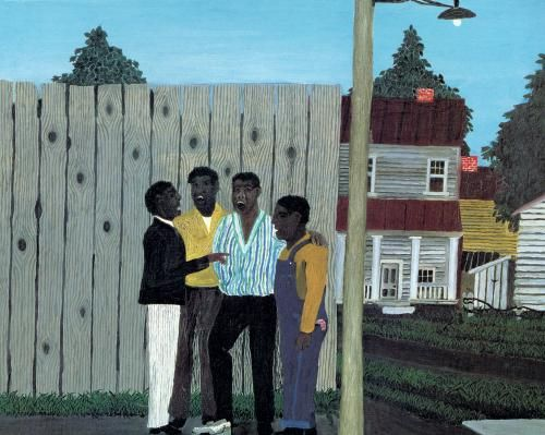 Harmonizing by Horace Pippin.  Pippin (1888 – July 6, 1946) was a self-taught African-American painter who worked in the naive style.