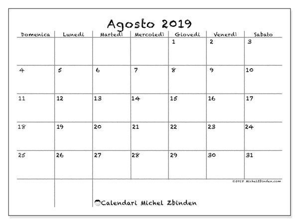 Calendario Mensile Da Tavolo 2019 Da Stampare Gratis.Calendario Agosto 2019 77ds Weddings Calendario