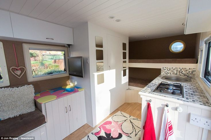 All of the mod cons: Alex installed bunk beds at the back, a bathroom and a kitchen down t... http://dailym.ai/1thjmPG#i-aae30e77