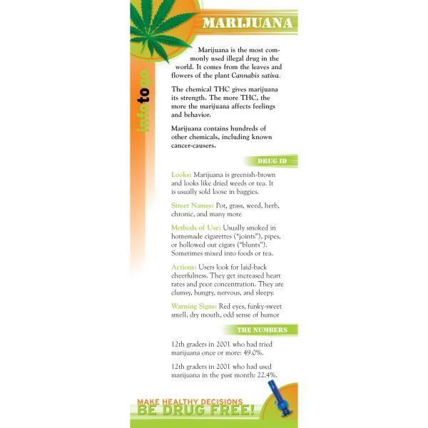 This Convenient Two Sided Card Provides Concise Information On The Most Commonly Abused Illegal Drug It Describes Marijuanas Appearance