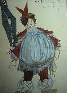 Manuel de Falla's «Retablo de Maese Pedro». Figurín de Víctor Cortezo (Sancho Panza).