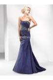 Bateau taffeta dress with beading and a corset closure