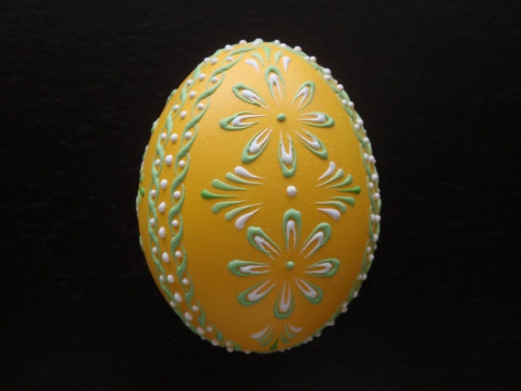 Easter Egg Pysanka Wax Embossed Chicken Egg in Yellow by EggstrArt, $16.95