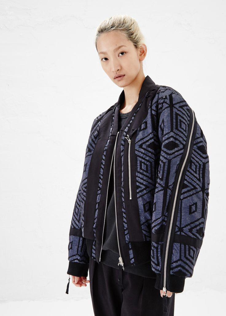 Dries Van Noten Vyra Bomber Jacket (Blue)