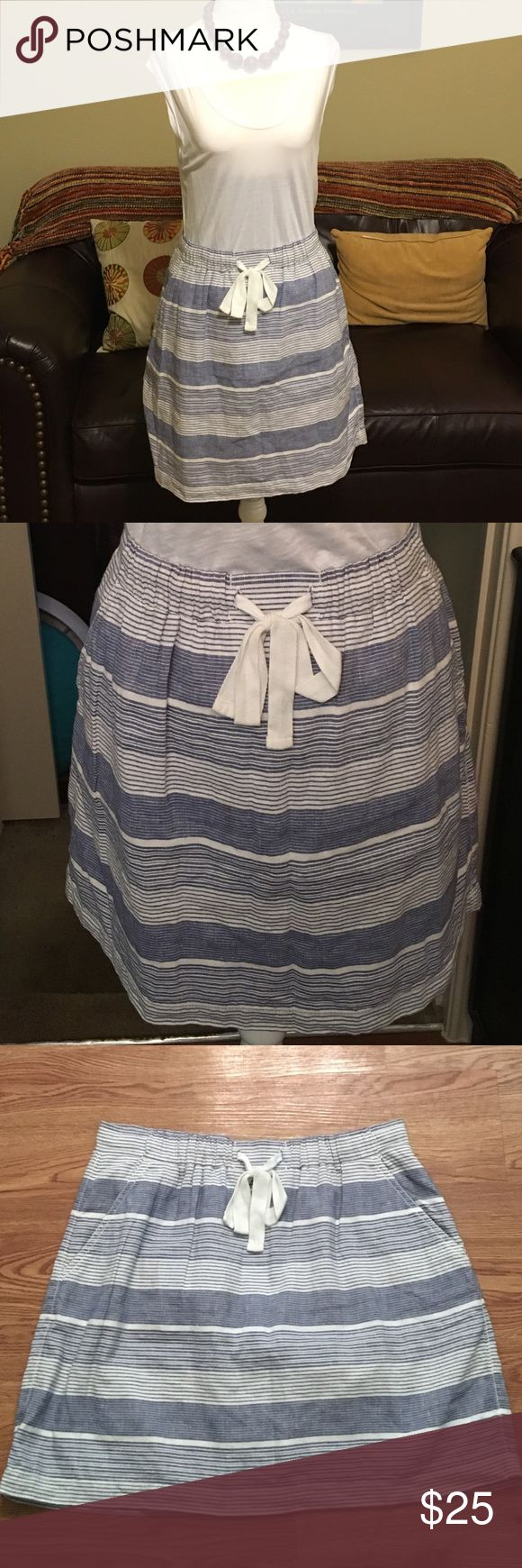 """Gap Striped Skirt Skirt has elastic and drawstring waist and side pockets. Dress up or down with a variety of tops. 55% linen and 45% cotton. Fully lined in 100% cotton. Waist is 15""""laying flat and length is 18.5"""".  Smoke free home. GAP Skirts A-Line or Full"""