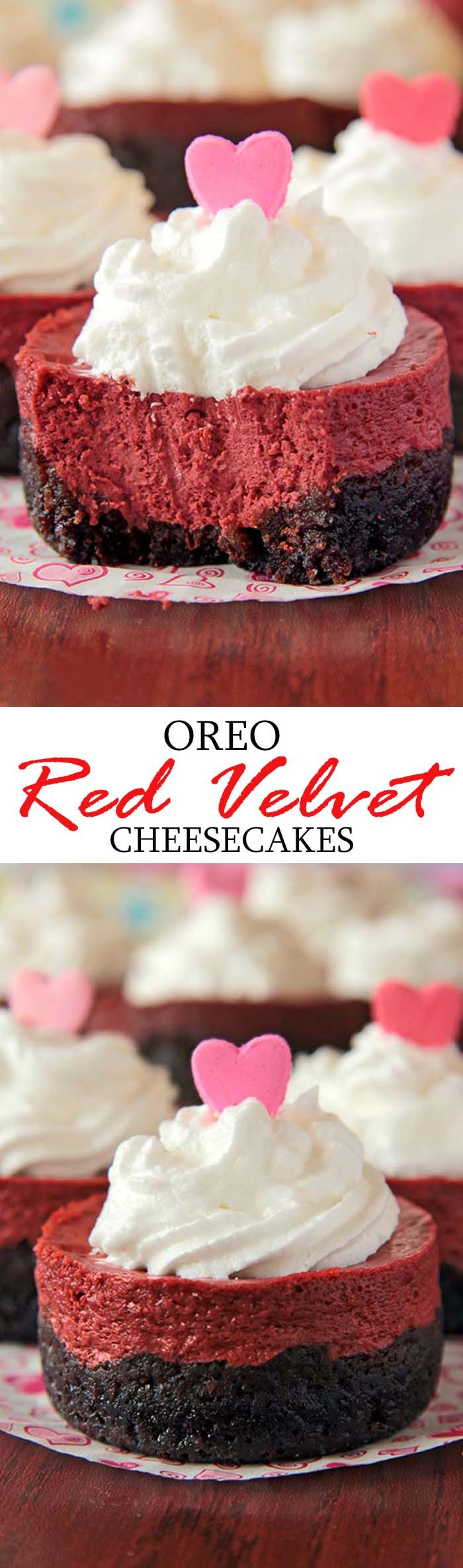 Individual Cheesecakes are simply wonderful, tasty and delicious - a lovely V-Day decoration on your table. #cheesecake #oreo #valentine