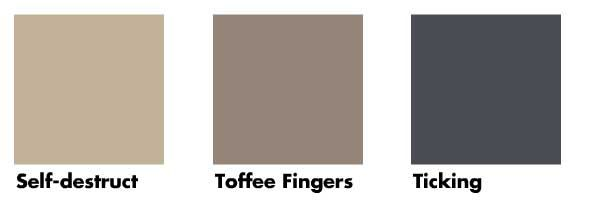 dulux colours toffee fingers, self destruct and ticking