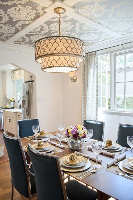 Attractive Transform An All White Dining Room With Wallpaper On The Ceiling And A  Classy Chandelier