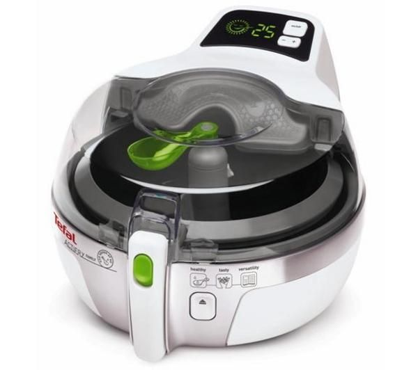Tefal Actifry - just one spoon of oil needed. http://www.pricerunner.co.uk/pli/81-2607196/Deep-Fat-Fryers/Tefal-Actifry-Family-AH9000-Compare-Prices