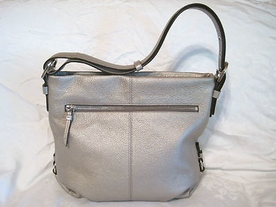 Coach Silver Leather Duffle Shoulder Crossbody Bag 8