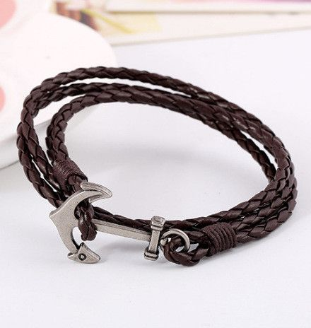 Metal Black Leather Friendship Bracelet Small Boat Anchor Unisex Adjustable New Jewelry & Watches