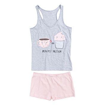 Womensecret. Pijamas Pijama corto con estampado de cupcake en algodón