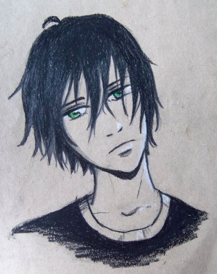 manga/anime boy pencils drawing