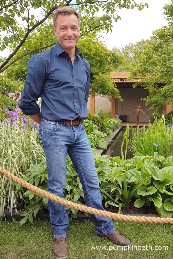 Chris Beardshaw pictured at The RHS Chelsea Flower Show, in the Gold Medal winning garden he designed on behalf of Morgan Stanley, for The Great Ormond Street Hospital.