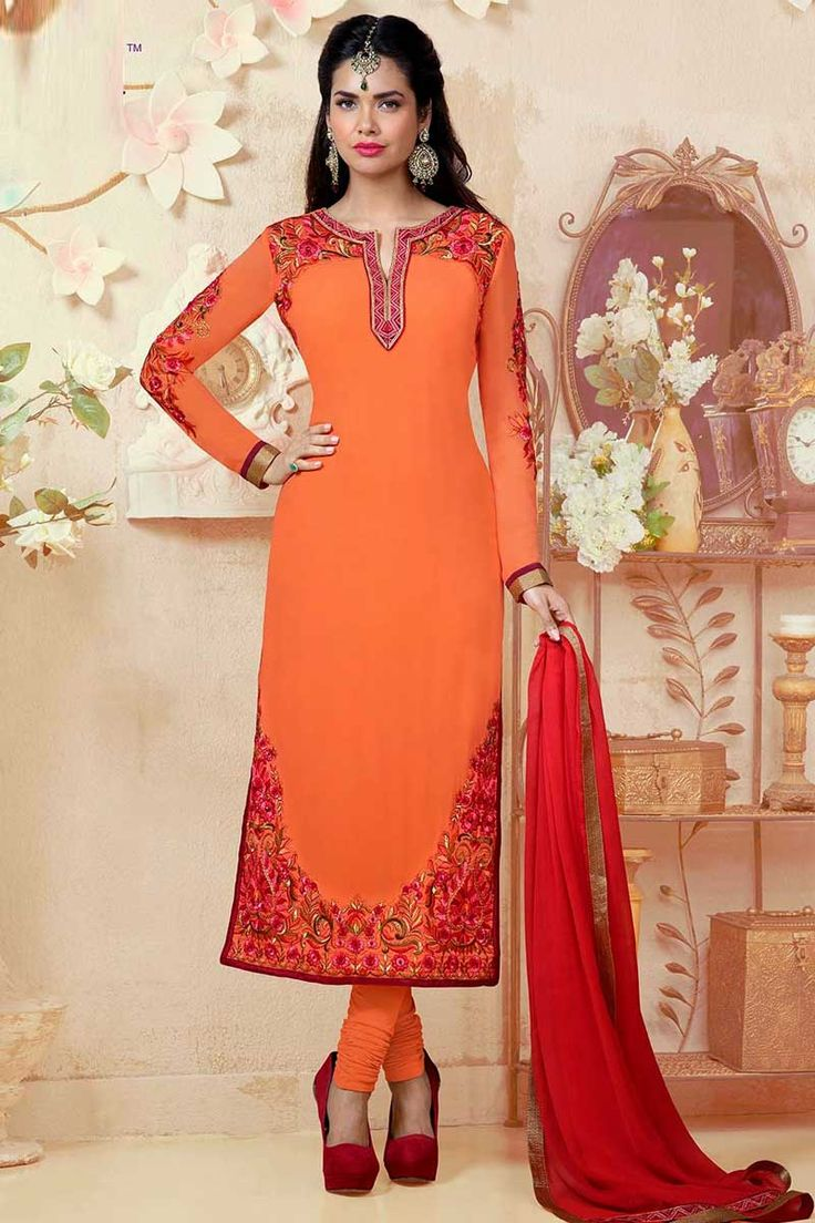 Orange Shantoon Churidar Suit with Chiffon Dupatta Design No. DMA13241 Price $76.92 Dress Type:	Churidar Suit Fabric:	                Shantoon Colour:    ​         	Orange Embellishments: 	Embroidered, Resham, Stone Work. For More Details Visit Here @ http://www.andaazfashion.us/