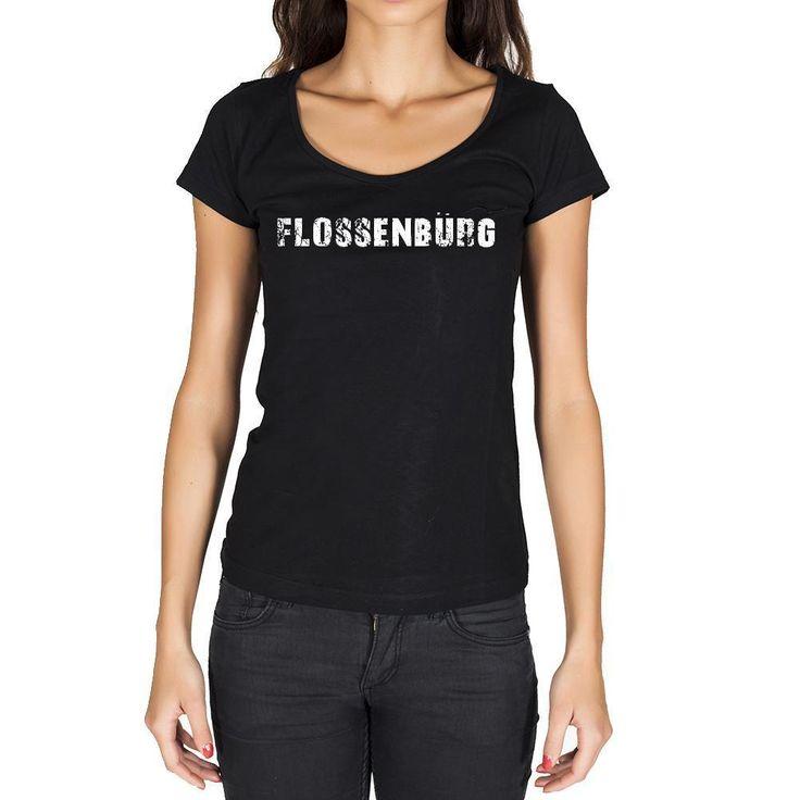 flossenbürg, German Cities Black, Women's Short Sleeve Rounded Neck T-shirt 00002